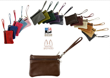 CLUTCH PURSE - Leather Wristlet with Removable Strap in 17 Colors