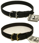 "LEATHER DOG COLLAR - ¾"" Wide Amish Handmade in Black & Dark Brown USA"