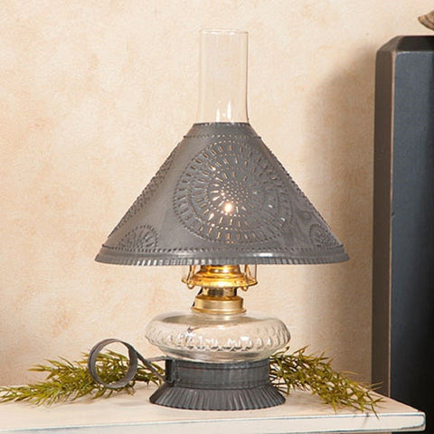 GLASS OIL LAMP with Rustic Punched Tin Shade Handcrafted Electric Hurricane Light