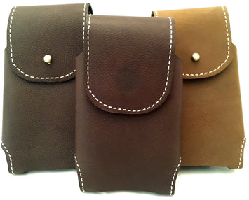 HANDMADE LEATHER PHONE CASE & WALLET Dark Brown Holster w/ Money Clip MADE in USA
