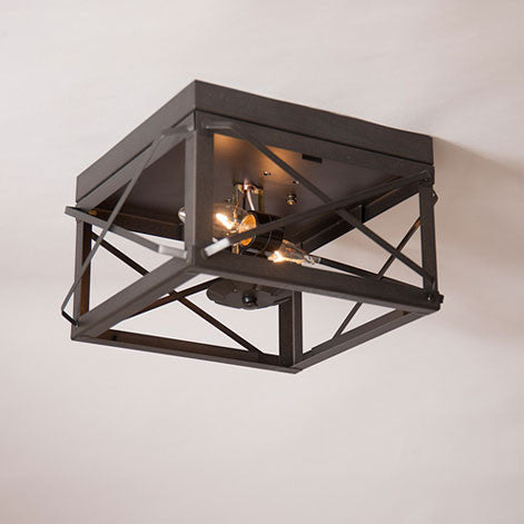 Handcrafted Ceiling Light Dual Socket Country Tin