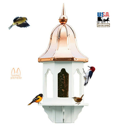 "36"" COPPER BELL TOP BIRD FEEDER - Weatherproof Vinyl Body & Genuine Copper"