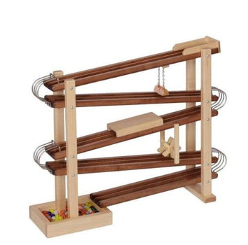 WOOD & METAL MARBLE RACE RUN Handmade Toy Roller Track with Glass Marbles