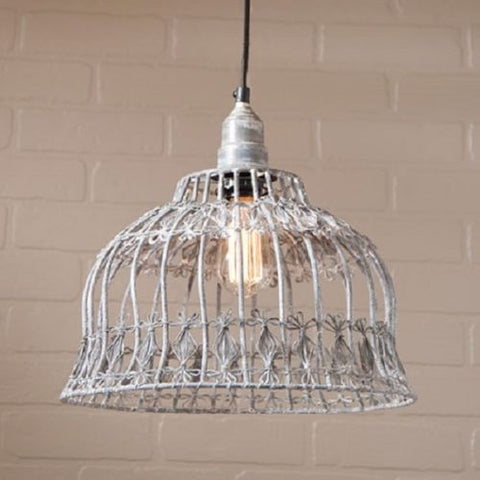 Flower Industrial Cage Wire Pendant Light in Weathered Zinc Finish