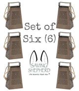 MINIATURE CHEESE GRATERS Set of Six (6) in Weathered Tin Finish