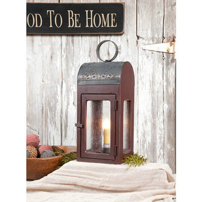 WOOD & PUNCHED TIN LANTERN Handcrafted Table Lamp with Antique Seedy Glass in 3 Finishes