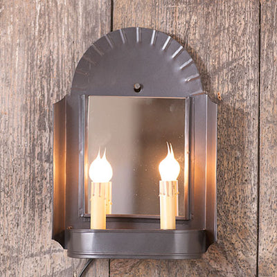 Inn Keeper's Sconce ~ Dual Candle Plug In Wall Light with Mirror - 2 FINISHES