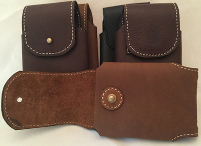 HANDMADE LEATHER PHONE CASE WITH WALLET Light Brown w/ Stud Closure MADE in USA