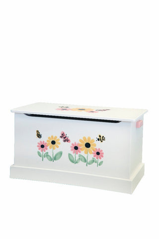 WOOD TOY BOX in 2 SIZES & 3 FINISHES Amish Handmade Wooden Storage Chest with Sports or Butterfly Flower Stencil