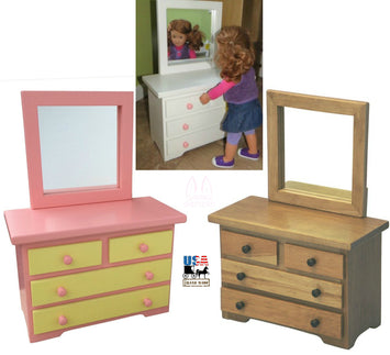 WOOD DRESSER with MIRROR for 18