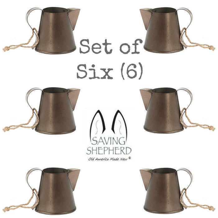 MINIATURE TAVERN MUG ORNAMENTS Set of Six (6) Mugs in Weathered Tin Finish