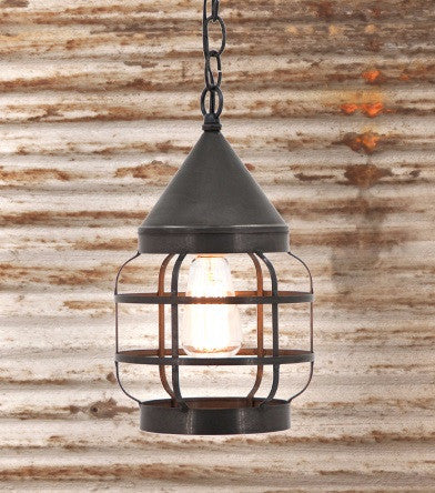 STRAP ONION PENDANT LIGHT Round Ceiling Lamp in Blackened Tin Finish