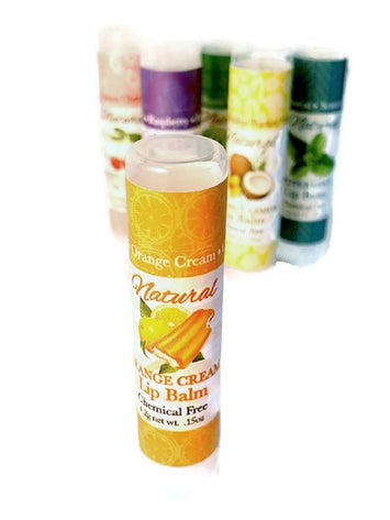 Orange Cream LIP BALM - All Natural Handmade with Orange & Vanilla w/ Sun Protection