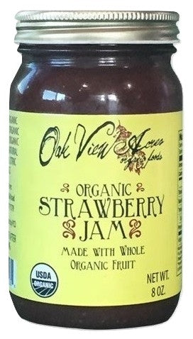 ORGANIC STRAWBERRY JAM - 100% All Natural Blended Whole Fruit Preserve Spread