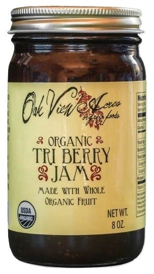 ORGANIC TRI BERRY JAM - Blueberries, Red Raspberries & Strawberries USDA PCO Certified