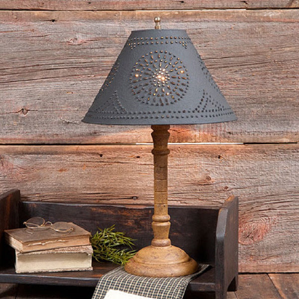 WOOD And PUNCHED TIN TABLE LAMP Handcrafted With 6 Custom