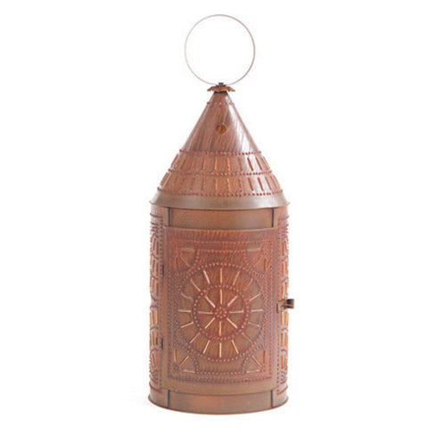 HUGE FLOOR LANTERN LIGHT Handcrafted 36 inch Primitive Punched Tin Lamp in Chisel Pattern