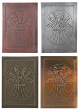 4 Punched Tin Panels ~ Handcrafted Vertical Primitive COUNTRY WHEAT Design in 4 Finishes
