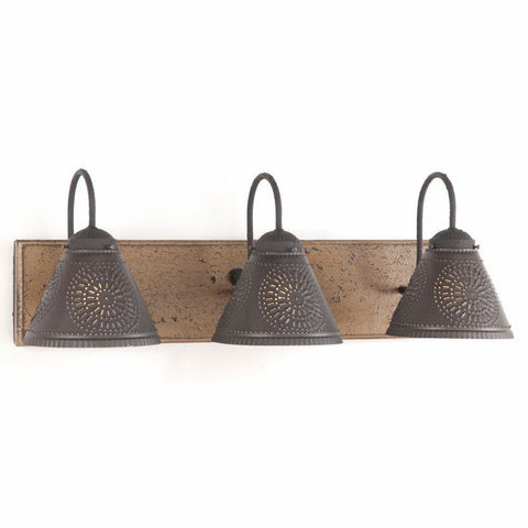 VANITY LIGHT Wood & Metal with 3 PUNCHED TIN Lamp Shades Rustic Wall Fixture