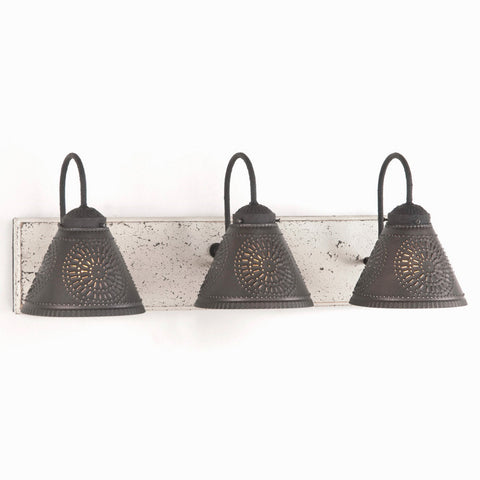 ... VANITY LIGHT Wood U0026 Metal With 3 PUNCHED TIN Lamp Shades Rustic Wall  Fixture