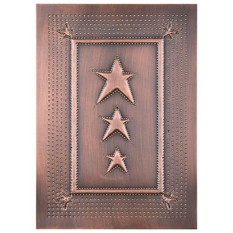 4 Punched Tin Panels ~ Handcrafted Vertical COUNTRY STAR Design in 2 Classic Finishes