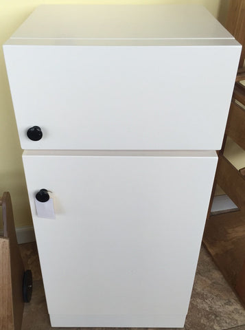 REFRIGERATOR Amish Handmade Wood Kitchen Appliance Furniture in White Finish