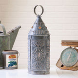 Punched Tin Colonial Lantern Accent Table Light Primitive Lamp Rustic Home Decor
