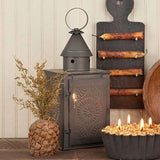SQUARE LANTERN ACCENT LAMP with Chisel Pattern in Blackened Tin