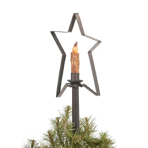 CHRISTMAS TREE STAR with CANDLE LIGHT Handcrafted Primitive Tin Topper in 2 Finishes