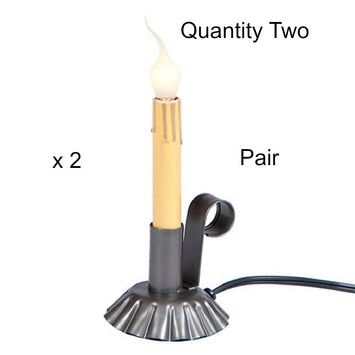WINDOW CANDLES (PAIR) Classic Colonial Accent Candlestick Light in Smokey Black Finish x 2