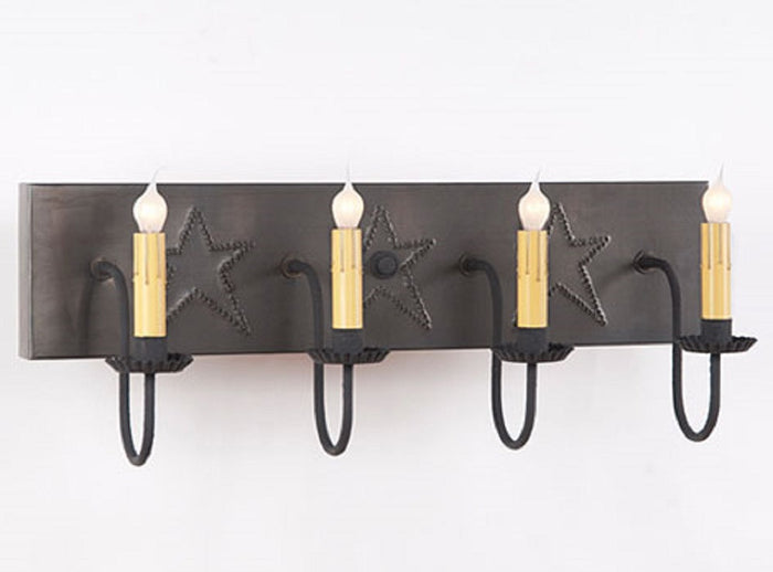 4 Arm Punched Tin Vanity Light ~ Country Stars in Blackened Tin Finish