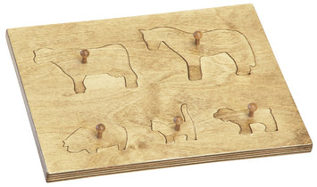 WOOD PUZZLE BOARD with Farm Animals Amish Handmade Children's Toy