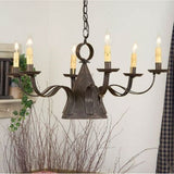 3-Way WITCH HAT CHANDELIER Large Primitive Punched Tin Candelabra USA