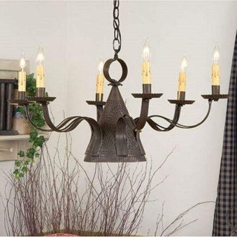 WITCH HAT CHANDELIER Large Primitive Punched Tin Candelabra with Center Down Light