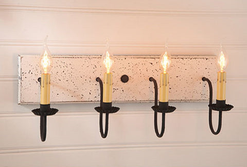 4 ARM CANDELABRA VANITY LIGHT ~ Country Wall Fixture in Americana Colors