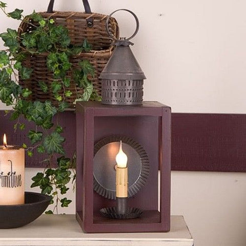 Wood & Metal Lantern with Antiqued Reflector in Sturbridge Red
