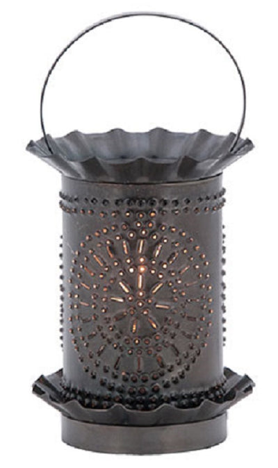 PUNCHED TIN WAX TART WARMER Chisel Pattern in Smokey Black Finish