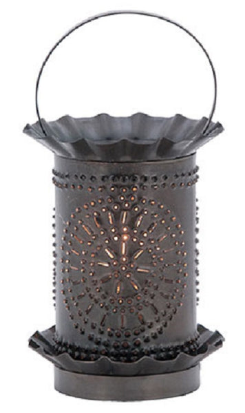 Punched Tin Wax Tart Warmer Chisel Pattern In Smokey Black