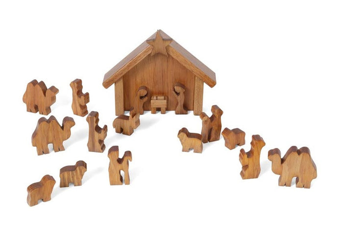 HANDMADE CHRISTMAS NATIVITY Wooden Manger with Holy Family & Animals Creche USA