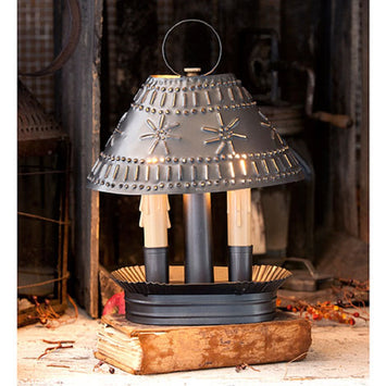 Colonial Pierced & Crimped Tin Grandma's Accent Light in Smokey Black Finish