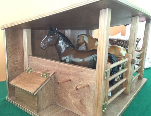 Horse Stable Wood Toy Amish Handmade Wooden Equestrian