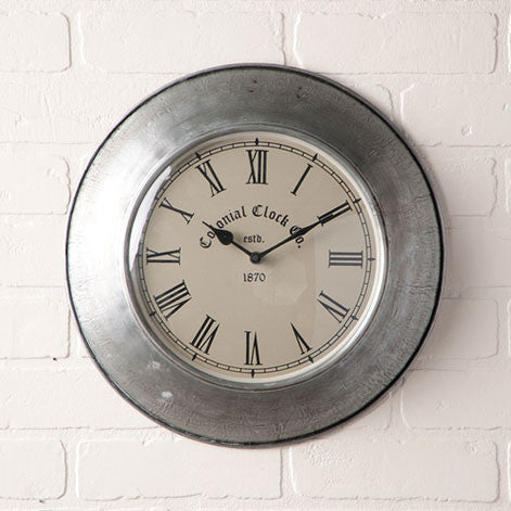 Vintage Springhouse Wall Clock - Colonial Clock Company in Antique Polished Tin Finish