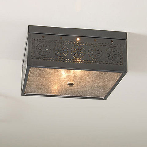 CEILING LIGHT Square Pierced and Seedy Glass with Chisel Pattern & Country Tin Finish