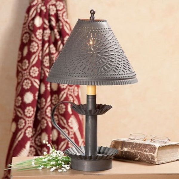 Primitive Punched Tin Candlestick Accent Light In