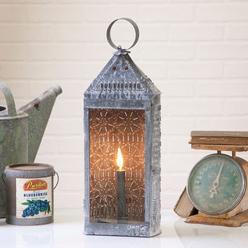 Pierced Tin Antique Glass Candle Accent Light Primitive Colonial Lighting