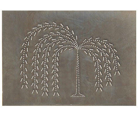 4 Punched Tin Panels ~ Handcrafted Horizontal Primitive WILLOW TREE in Blackened Tin