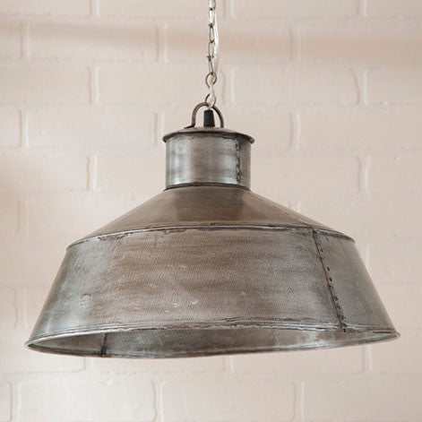 Large Springhouse Pendant Light In Antique Polished Tin