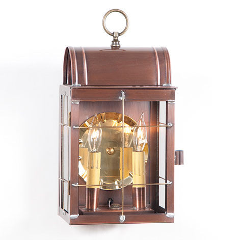 OUTDOOR COLONIAL SCONCE Lantern Handcrafted Antique Copper Dual Candle Wall Lamp