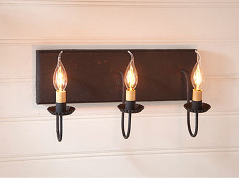 3 ARM CANDELABRA VANITY LIGHT ~ Rustic Wall Fixture in Hartford Colors