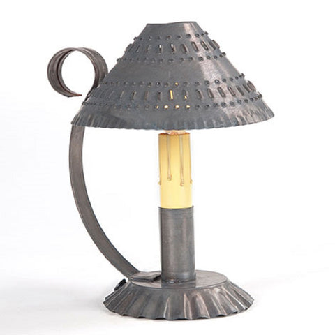 Punched Tin Candle Holder Primitive Accent Light with Pierced Shade